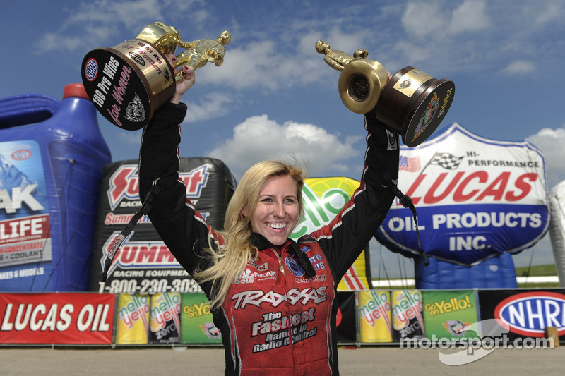 Courtney Force celebrates the 100th win for women