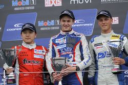 Podium: race winner Egor Orudzhev, second place Martin Cao, third place Marvin Kirchhofer