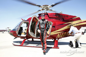 Kurt Busch arrives from the Indianapolis Motor Speedway