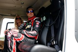 Kurt Busch boards a helicopter to Charlotte Motor Speedway