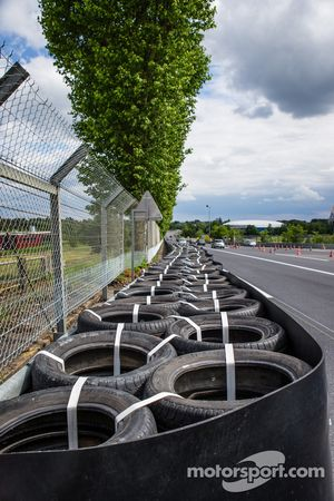New configuration at Tertre Rouge where Allan Simonsen crashed in 2013: new tire wall, repositioned