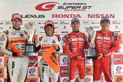 GT500 winners Tsugio Matsuda and Ronnie Quintarelli and GT300 winners Shinichi Takagi, Takashi Kobay