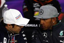 Felipe Massa, Williams y Lewis Hamilton, Mercedes AMG F1 en la conferencia de prensa