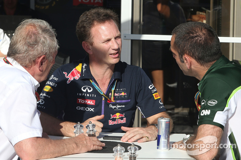 Dr. Helmut Marko, Red Bull, Motorsportberater; Christian Horner (GBR), Red Bull Racing, Teamchef;  Cyril Abiteboul (FRA), Caterham F1 Team, Teamchef