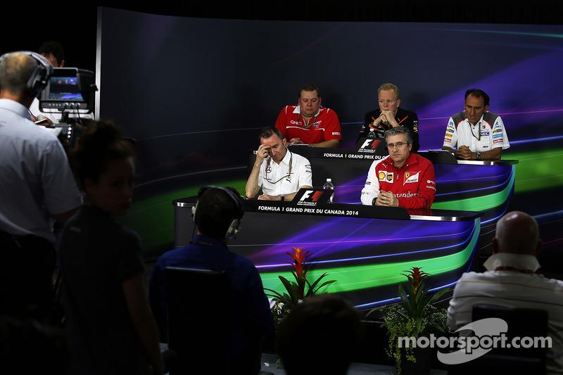 La conferenza stampa della FIA, Marussia F1 Team Race Ingegnere; Andrew Green, Sahara Force India F1