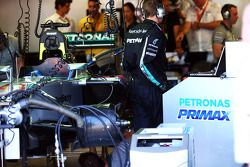 Petronas fuel rig in the Mercedes AMG F1 pit garage