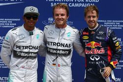 pole for Nico Rosberg, Mercedes AMG F1, 2nd for Lewis Hamilton, Mercedes AMG F1 W05 and 3rd for Seba