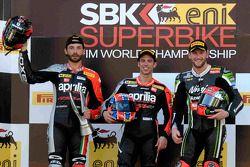 Марко Меландри, Том Сайкс и Сильван Гинтоли. Сепанг, вторая воскресная гонка.