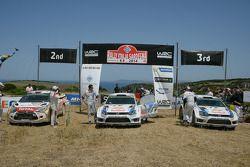 Winnaars Sébastien Ogier en Julien Ingrassia, tweede plaats Mads Ostberg en Jonas Andersson, derde p