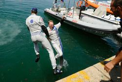 Jari-Matti Latvala and Sébastien Ogier dive into the harbour