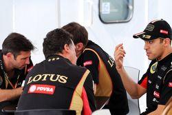 路特斯F1车队CEO马修·卡特和路特斯F1车队执行车队总监弗雷德里克·加斯塔尔迪,路特斯F1车队赛道运作主管阿兰·珀曼和路特斯F1车队车手帕斯托·马尔多纳多