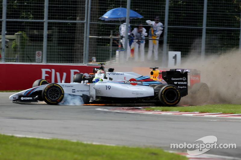 Choque entre Felipe Massa, Williams F1 Team y Sergio Pérez, Sahara Force India
