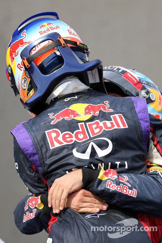 1. Daniel Ricciardo, Red Bull Racing; 3. Sebastian Vettel, Red Bull Racing