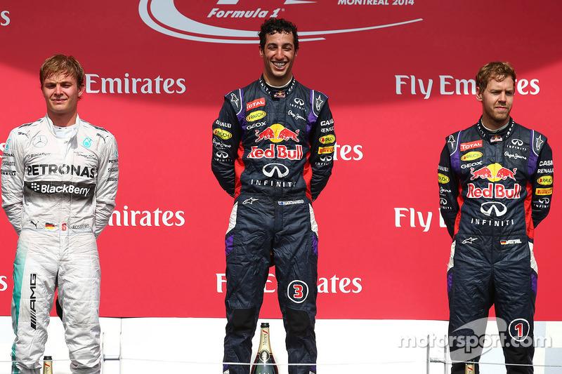2014: 1. Daniel Ricciardo, 2. Nico Rosberg, 3. Sebastian Vettel