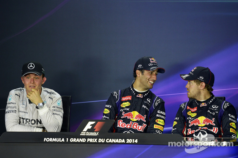 Conferenza stampa della FIA post gara, Mercedes AMG F1, secondo; Lewis Hamilton, Mercedes AMG F1, vincitore della gara; Daniel Ricciardo, Red Bull Racing, terzo