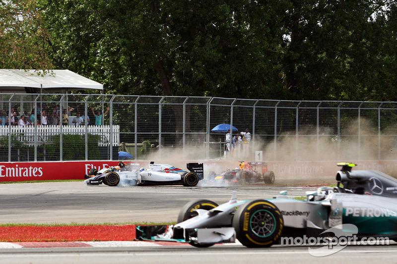 Nico Rosberg, de Mercedes AMG F1 W05 toma lla vuelta con Felipe Massa, FW36 Williams y Sergio Pérez,