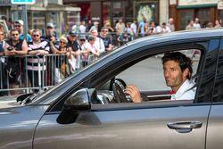 Mark Webber leaving scrutineering