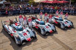 #1 Audi Sport Team Joest Audi R18 E-Tron Quattro: Lucas Di Grassi, Loic Duval, Tom Kristensen ; #2 Audi Sport Team Joest Audi R18 E-Tron Quattro: Marcel Fässler, Andre Lotterer, Benoit Tréluyer ; #3 Audi Sport Team Joest Audi R18 E-Tron Quattro: Filipe Al