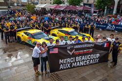 #73 Corvette Racing Chevrolet Corvette C7: Jan Magnussen, Antonio Garcia, Jordan Taylor ; #74 Corvette Racing Chevrolet Corvette C7: Oliver Gavin, Tom Milner, Richard Westbrook