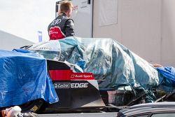 The crashed #1 Audi Sport Team Joest Audi R18 E-Tron Quattro back to the Audi compound after Loic Duval massive accident