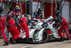 Lucas Di Grassi getting out of the #1 and Loic Duval getting in