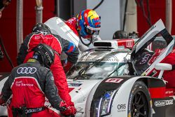 Loic Duval getting into the car before his crash in Wednesday practice