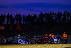 #37 SMP Racing Oreca 03 - Nissan: Kirill Ladygin, Nicolas Minassian, Maurizio Mediani crash during Wednesday qualifying at the entrance to Porsche curve