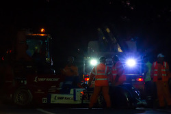 #37 SMP Racing Oreca 03 - Nissan: Kirill Ladygin, Nicolas Minassian, Maurizio Mediani loaded onto flatbed