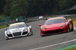 #21 Bamd Ferrari 458 Challenge: Darren Nelson, Nigel Greensall ; #21 Simpson Motorsport Audi R8 LMS GT3: Peter Cook, Frank Pelle