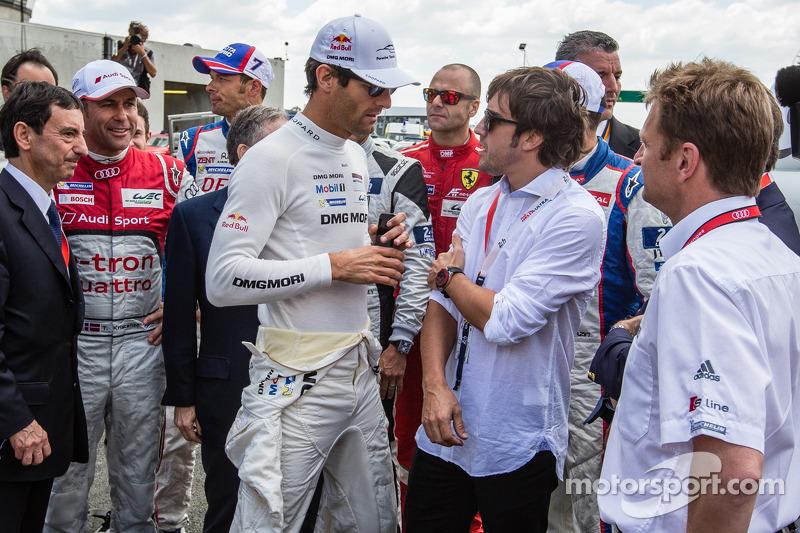 Mark Webber y Fernando Alonso en Le Mans 2014