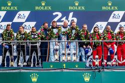 LMGTE Am podium: class winners Kristian Poulsen, David Heinemeier Hansson, Nicki Thiim, second place