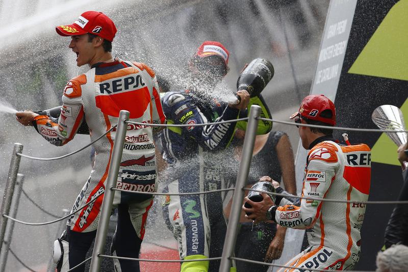Podium: 1. Marc Marquez, 2. Valentino Rossi, 3. Dani Pedrosa