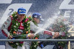 LMP1-H podium: Tom Kristensen sprays champagne