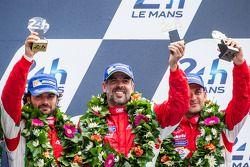 LMGTE Am podium: Luis Perez-Companc, Marco Cioci, Mirko Venturi