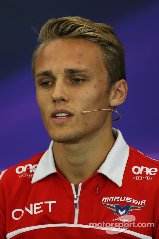 Max Chilton, Marussia F1 Team, na Conferência de Imprensa FIA