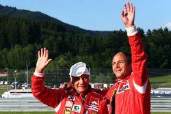Niki Lauda, Mercedes Non-Executive Chairman, met Gerhard Berger (AUT)