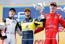 Race winner Felipe Nasr, second place Stoffel Vandoorne, third place Raffaele Marciello