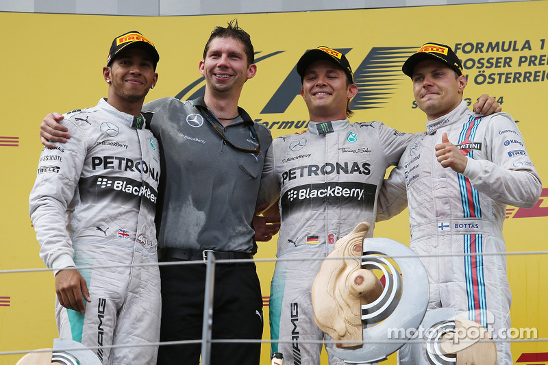 1st place Nico Rosberg, Mercedes AMG F1 with 2nd place Lewis Hamilton, Mercedes AMG F1 W05 and 3rd place Valtteri Bottas, Williams FW36