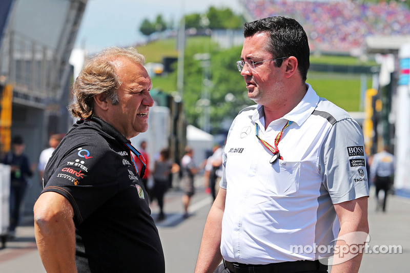 (L to R): Robert Fernley, Sahara Force India F1 Team Deputy Team Principal with Eric Boullier, McLaren Racing Director on the drivers parade