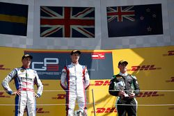 Race winner Emil Bernstorff, second place Jimmy Eriksson, third place Richie Stanaway