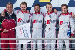 Podium: racewinnaars Christopher Haase, Christian Mamerow, René Rast, Markus Winkelhock