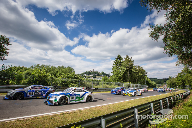 Start: #108 Rotek Racing Audi TT RS: Robert Huff, Robb Holland, Richard Meins, Kevin Gleason and #11