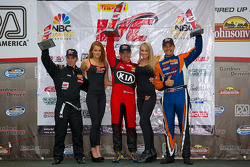 GTS Winners Podium: Jack Roush Jr. (second, left), Nic Jonsson (first, center), Tony Buffomante (third, right)