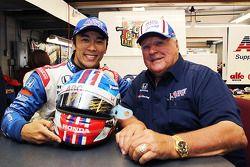 Takuma Sato and A.J. Foyt with charity helmet