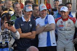 Sébastien Ogier, Jari-Matti Latvala en Kris Meeke