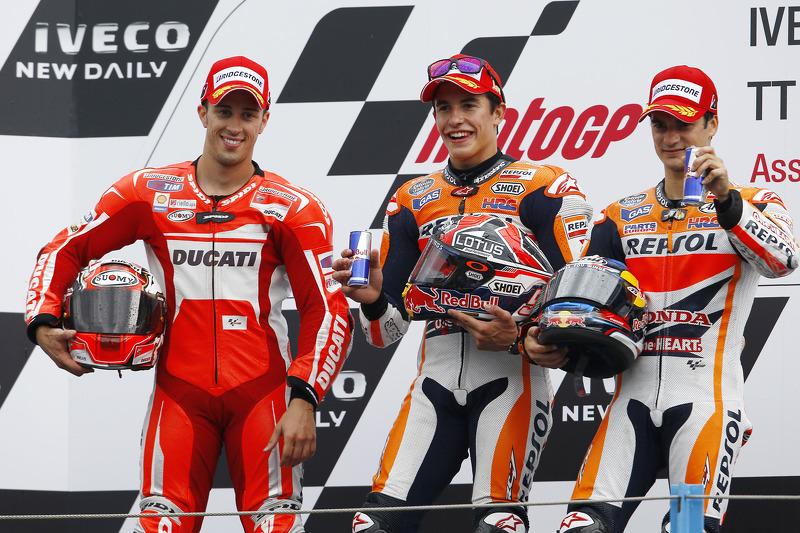 Podio: 1º Marc Márquez, 2º Andrea Dovizioso, 3º Dani Pedrosa