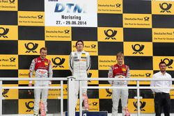 Podium, 2. Jamie Green, Audi Sport Team Abt Sportsline, Audi RS 5 DTM, 1. Robert Wickens, Mercedes A