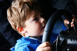 A young fan in the simulator