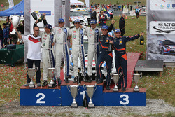 Winners Sébastien Ogier and Julien Ingrassia, second place Andreas Mikkelsen and Ola Floene, third place Thierry Neuville and Nicolas Gilsoul