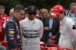 Sebastien Buemi, Lewis Hamilton and Pedro de la Rosa